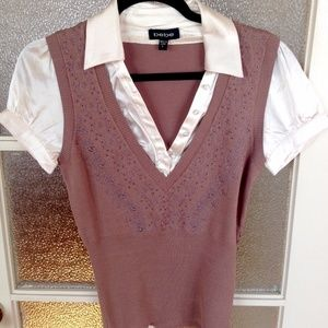 bebe Cream Blouse and Brown Vest